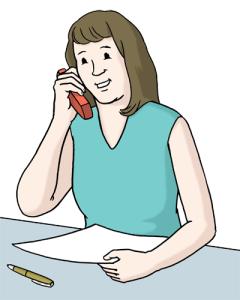 Frau Telefonhörer am Ohr