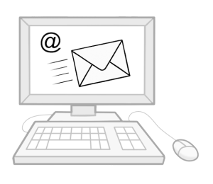 Computer mit einem Bildschirm auf dem ein E-Mailsymbol zu sehen ist