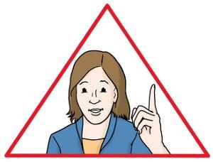 Eine Frau mit erhobenen Zeigefinger umrahmt von einem roten Dreieck