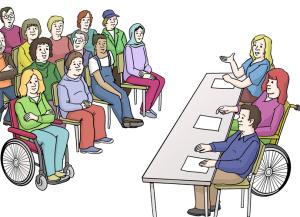 Zeichnung Menschen sitzen zusammen