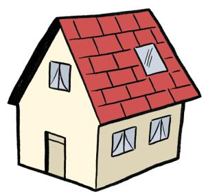 Ein Haus mit rotem Dach