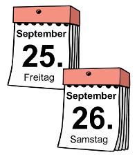 Gezeichnete Kalender mit dem 25.9. und 26.9.