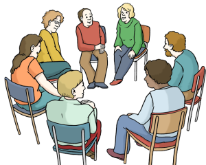 Eine Gruppen von Menschen sitzt in einem Gesprächkreis